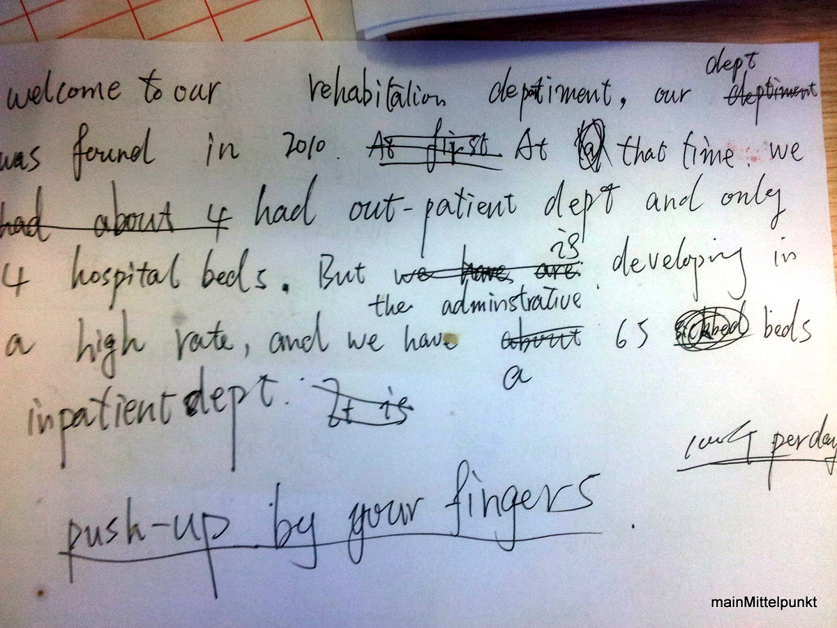 Diesen Zettel habe ich auf dem Schreibtisch des Assistenzarztes entdeckt (-;